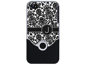 monogram with bw damask i phone 4 slider case by CafePress