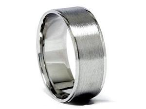Mens Matte 8 MM Solid Platinum Comfort Fit Wedding Ring Band Comfort Fit