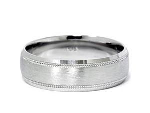 7MM Mens Platinum Comfort Fit Wedding Ring Brushed BUY DIRECT