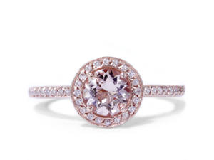 1.00CT Morganite & Diamond Engagement Ring 14K Rose Gold Halo Design