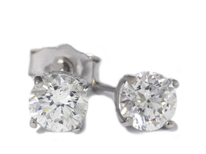 VS 1/2 Carat Round Diamond NATURAL Studs 14K White Gold Basket Settings Earrings