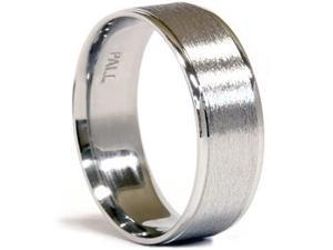 Men's Solid 950 Pure Palladium Flat 7MM Wide Brushed Matte Wedding Ring Band