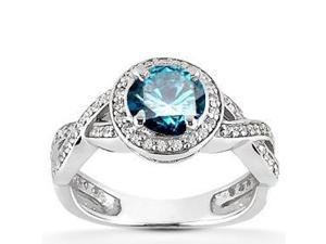 1 Carat Blue Diamond Womens Engagement Ring Vintage Halo Pave Antique 14K