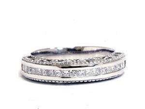 14KT DIAMOND RING .51CT VINTAGE STYLE CHANNEL SET MILGRAIN BAND 14K WHITE GOLD