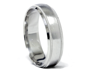 Solid 950 Platinum Comfort Fit Mens Brushed Finish Wedding Band 6MM