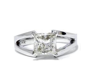 1.00 Carat Princess Cut Diamond Solitaire Engagement Ring 14K White Gold New