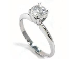 REAL .85CT Solitaire Diamond Brilliant 14K White Gold Engagement Ring 4-9