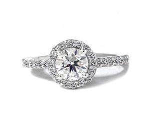 SI 1.55CT (1 Carat Center) Diamond Engagement Ring Pave Halo Vintage White Gold