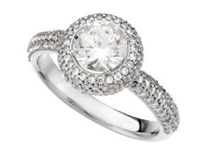 Genuine HUGE 2.35 Carat Womens Round Micro Pave Diamond Engagement Ring