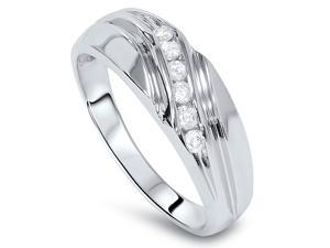 Mens Genuine Diamond 1/4CT Curved Diamond Wedding Ring High Polished Size 7-12