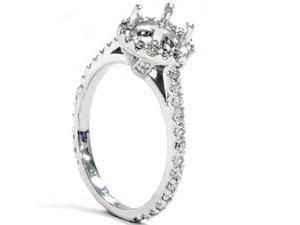 SI .55CT Diamond Engagement Ring Semi Mount Setting Halo Pave Vintage White Gold