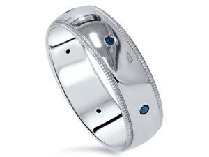 Mens Blue Diamond Wedding Ring 10K White Gold High Polished 6 MM New Milgrain