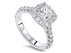1.40CT Princess Cut Diamond Engagement Ring 14K White Gold Halo Pave Natural 4-9