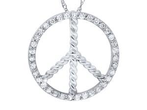 .40CT Peace Symbol Natural Diamond Pendant Womens Braided Circle Unique 14K WG