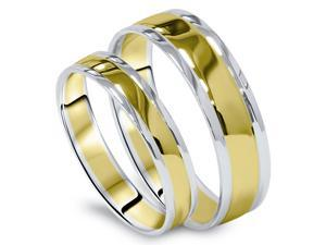 CLASSIC Matching His Hers Two Tone 14k Gold High Polish Wedding Band Set