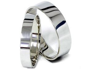 SIMPLY PLAIN Flat High Polish His Hers 6/4MM Wedding Bands 14K White Gold