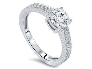 SI 1 Carat Womens Round Diamond Vintage Engagement Ring Hand Engraved White Gold