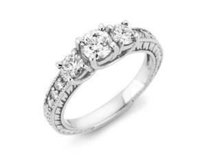 1.00 CT Diamond Vintage 14K White Gold Engagement Ring Round Brilliant Antique
