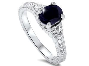 2.33CT Oval Black Sapphire Diamond Vintage Style Heirloom Hand Engraved Ring 14K