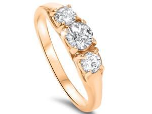 SI 1.00CT Real Genuine Diamond Round 3 Stone Engagement Ring 14K Yellow Gold