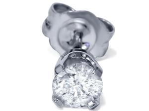 SI 1/4CT Round Diamond Single Stud Mens 14K White Gold Basket Earring Brilliant