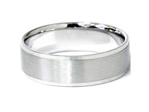 Mens 14K White Gold Flat 6MM Brushed Wedding Ring Matte Band Satin FREE SIZING