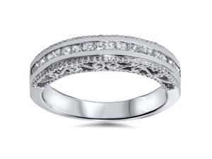 .51CT Princess Cut Diamond Vintage Style Milgrain Wedding Anniversary Band 14K