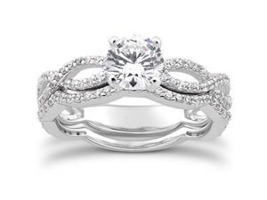 1.00CT Infinity Twist Micropavé Diamond Engagement Ring Matching Wedding Set