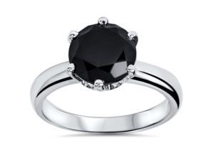 AAA 1.06CT ROUND BLACK DIAMOND SOLITAIRE ENGAGEMENT ANNIVERSARY RING WHITE GOLD