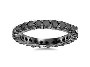 1.55CT Black Diamond Eternity Wedding Anniversary Ring Band 14K Black Gold (4-9)
