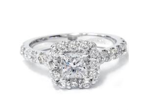 1.40CT Princess Cut Diamond Engagement Ring 14K White Gold Halo Pave Natural 4-9