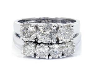HUGE 3.00 Ct Diamond Engagement 3 Three Stone Ring Set Wedding Band White Gold