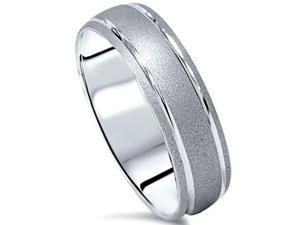 Double Inaly Brushed Solid White Gold Mens Wedding Ring Sandblast Band 7-12 6MM