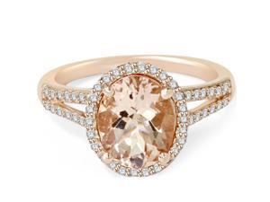 3.00 Ct Morganite & Diamond Engagement Ring 14 Karat Rose Gold Halo Split Shank
