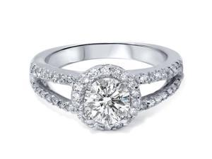 REAL 1.68 Ct SI Round Pave Diamond Halo Engagement Ring Split Shank Anniversary