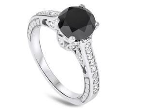 2.69CT Black Diamond Vintage Style Engagement Ring 14K White Gold SZ (4-10)