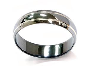 Mens Solid 14k Black Gold 6MM Wedding Ring Band Modern Double Inlay Gun Metal