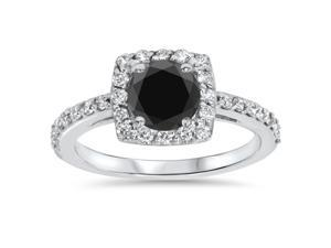 SI 1.40CT Diamond & Black Spinel Halo Engagement Ring 14K White Gold Size (4-10)