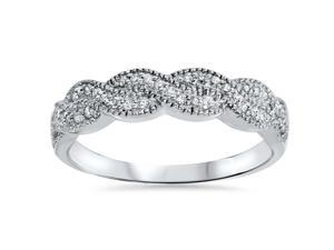 1/4CT Pave Diamond Infinity Vintage Wedding Ring Band 14K White Gold Size (4-9)