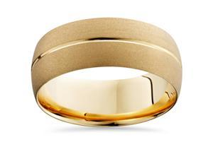 8MM Brushed 14K Yellow Gold Comfort Fit Wedding Ring Band Solid Sandblast 7-12