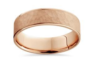 14K Rose Gold Hammered Comfort Fit Wedding Ring Mens Band Solid Beveled 6 MM