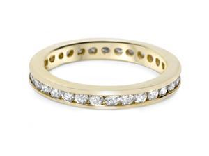 1 Carat 14K Yellow Gold Channel Set Diamond Womens Eternity Ring Wedding Band