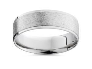 Mens 14K White Gold Flat 6MM Brushed Wedding Ring Matte Band Satin FREE SIZING