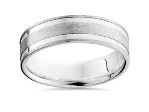 Mens Solid 950 Palladium Double Inlay Comfort Fit Flat 6MM Wedding Ring Band