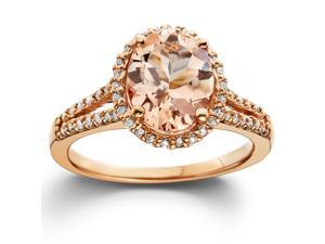 3.00 Ct Morganite & Diamond Engagement Ring 14 Karat Rose Gold Halo Split Shank