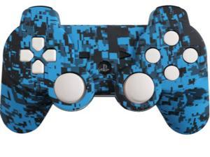 Custom Playstation 3 PS3 Controller: Blue Urban with White Add-Ons