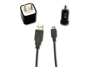 USB Cable + AC Wall & Car Charger for Verizon Samsung ILLUSION i110 SCH-i110