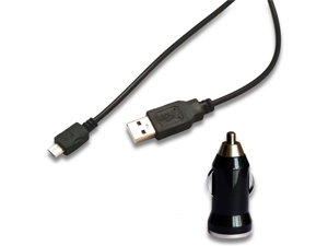 Car Charger + Micro USB Data Cable for HTC One S V X Inspire 4G Thunderbolt ACE