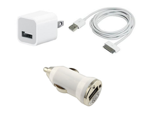 Car Charger + USB AC Home Wall + Data Cable for iPod Touch iPhone 2G 3G 3GS 4S 4
