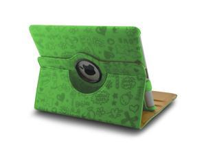 360 Rotating Magnetic Leather Case Smart Cover Swivel Stand for iPad 2 3 Green